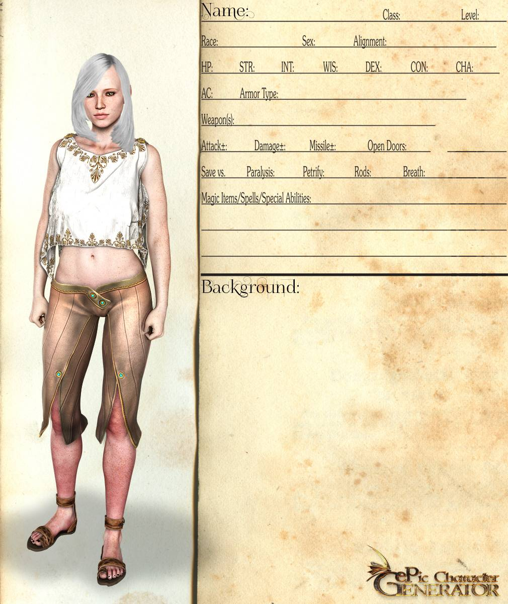ePic Character Generator Season 2 Female Elf Screenshot 01